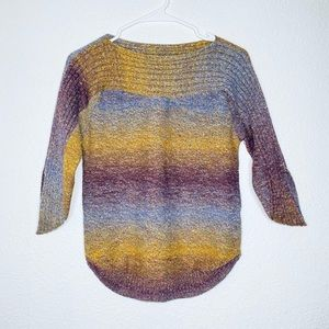CB Ombré Striped Boat Neck 3/4 Rainbow Sweater